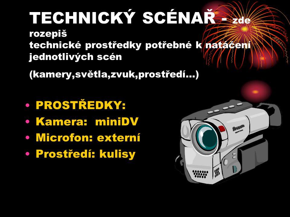TECHNICKÝ SCÉNAŘ - zde rozepiš technické prostředky potřebné k natáčení jednotlivých scén (kamery,světla,zvuk,prostředí…)