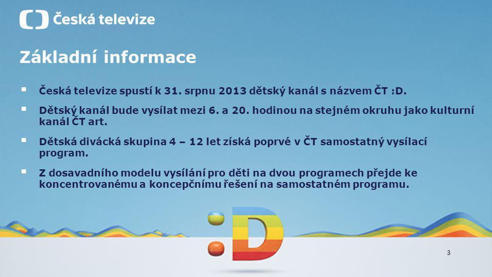 Základní informace Česká televize spustí k 31. srpnu 2013 dětský kanál s názvem ČT :D.