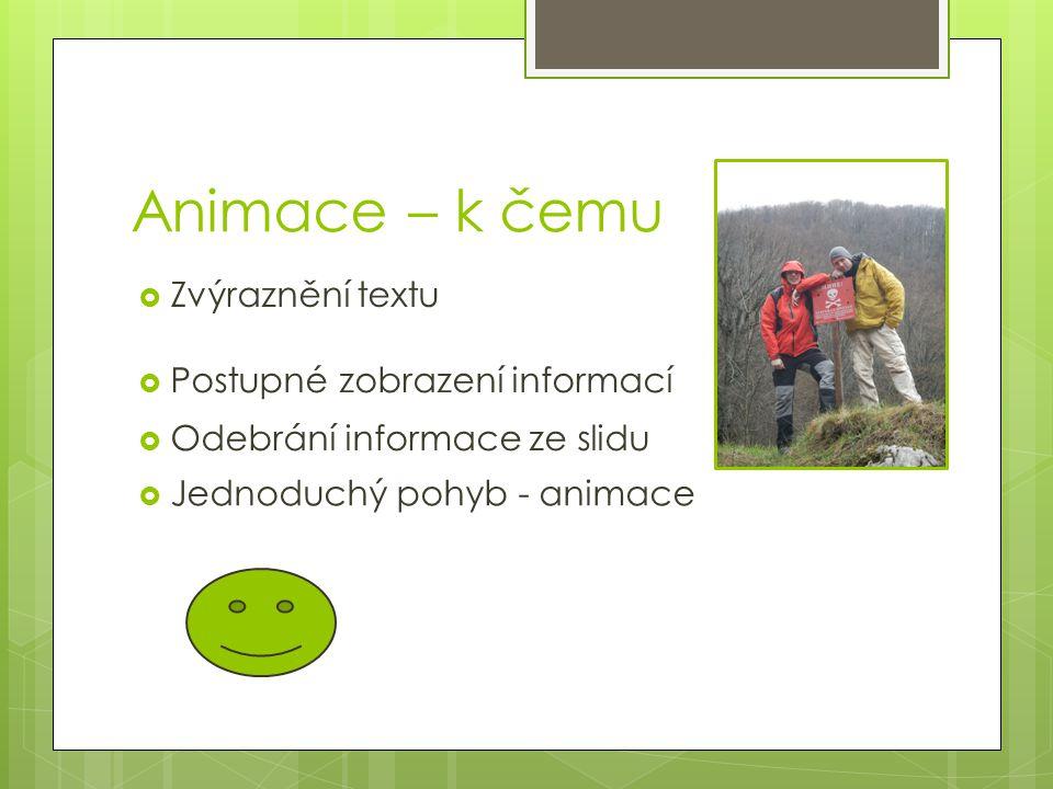 Animace – k čemu Zvýraznění textu Postupné zobrazení informací