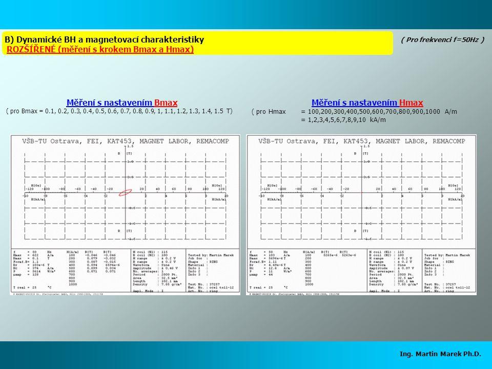Měření s nastavením Bmax Měření s nastavením Hmax