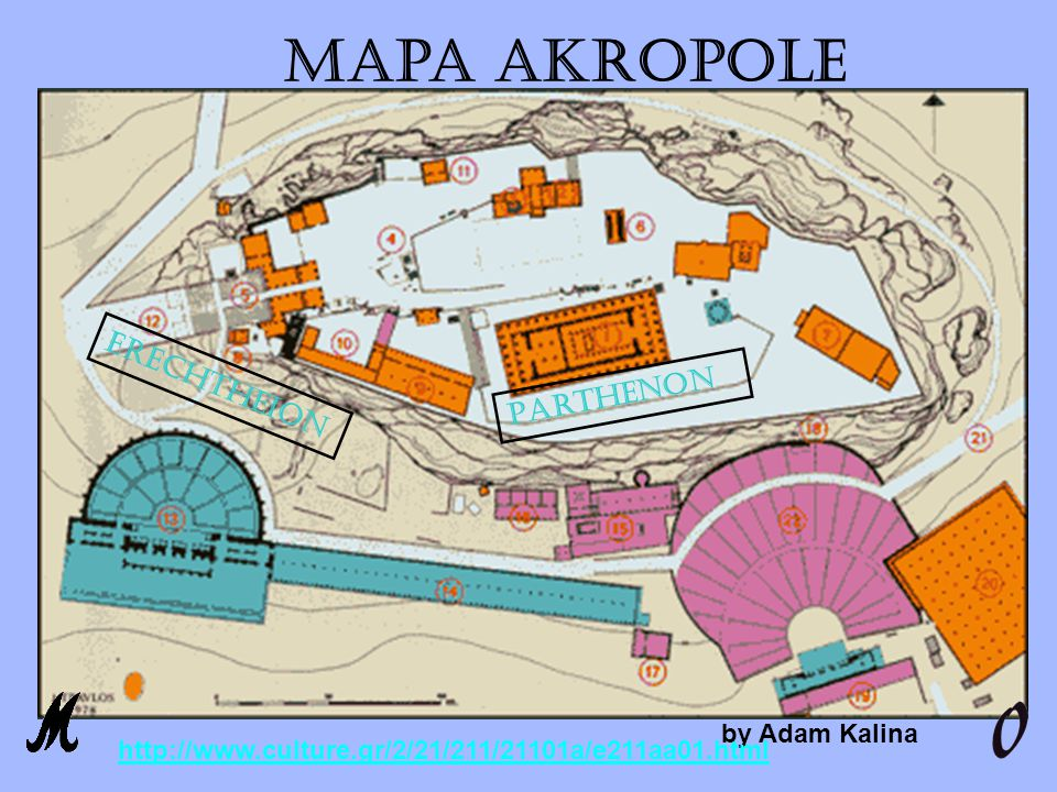 Mapa Akropole Erechtheion Parthenon by Adam Kalina