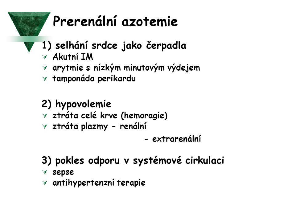 Prerenální azotemie 1) selhání srdce jako čerpadla 2) hypovolemie