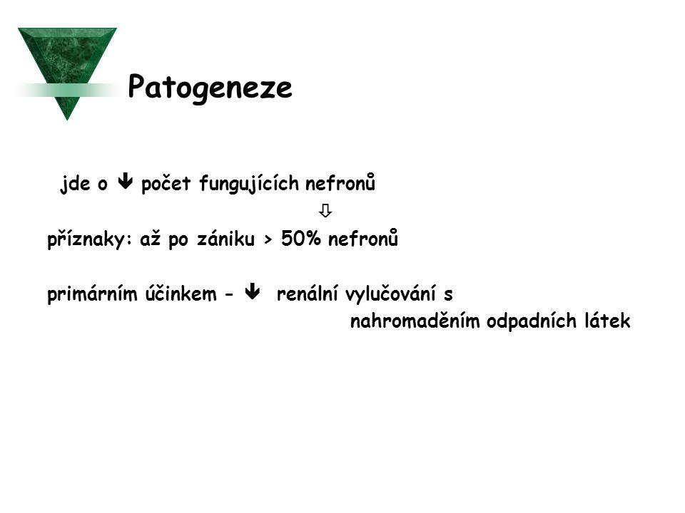 Patogeneze - jde o  počet fungujících nefronů 