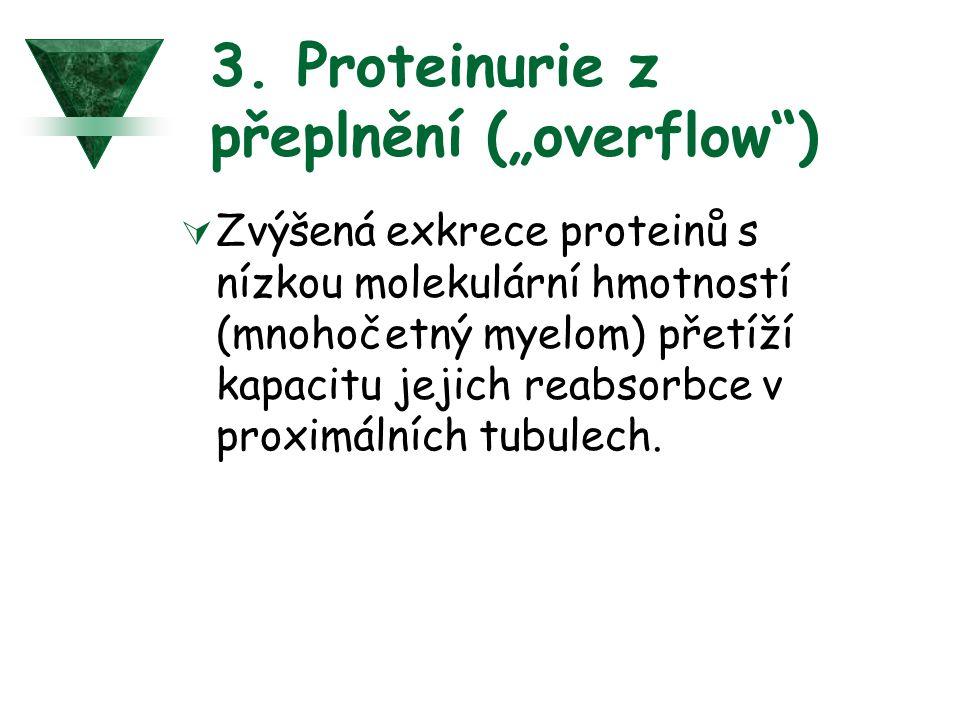 """3. Proteinurie z přeplnění (""""overflow )"""