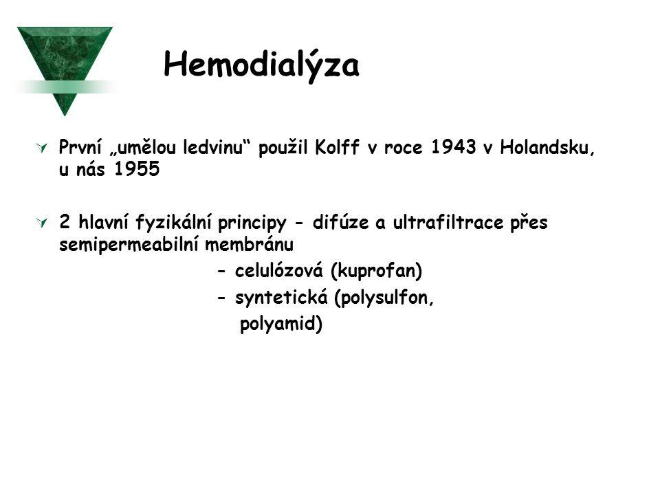 """Hemodialýza První """"umělou ledvinu použil Kolff v roce 1943 v Holandsku, u nás 1955."""