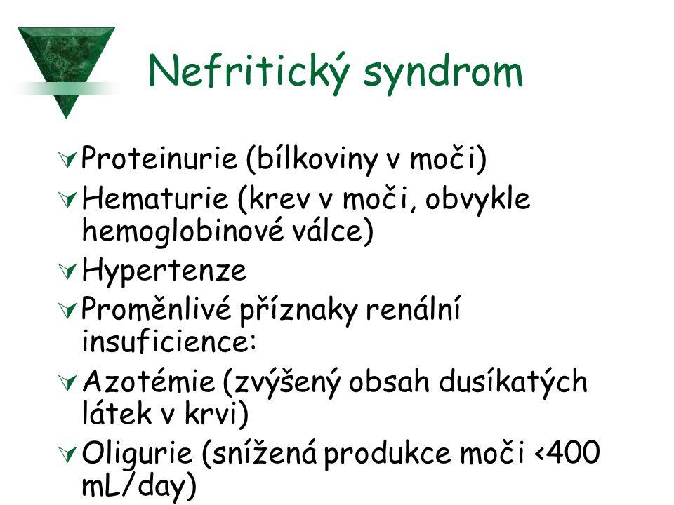 Nefritický syndrom Proteinurie (bílkoviny v moči)