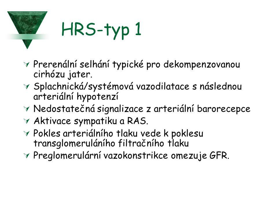 HRS-typ 1 Prerenální selhání typické pro dekompenzovanou cirhózu jater. Splachnická/systémová vazodilatace s následnou arteriální hypotenzí.