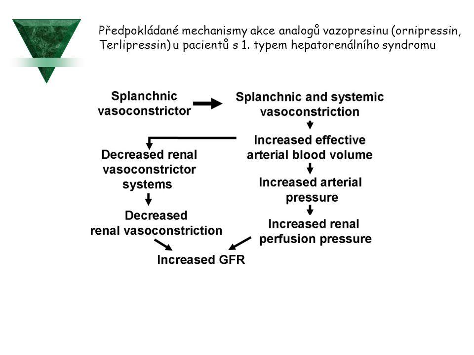 Předpokládané mechanismy akce analogů vazopresinu (ornipressin,