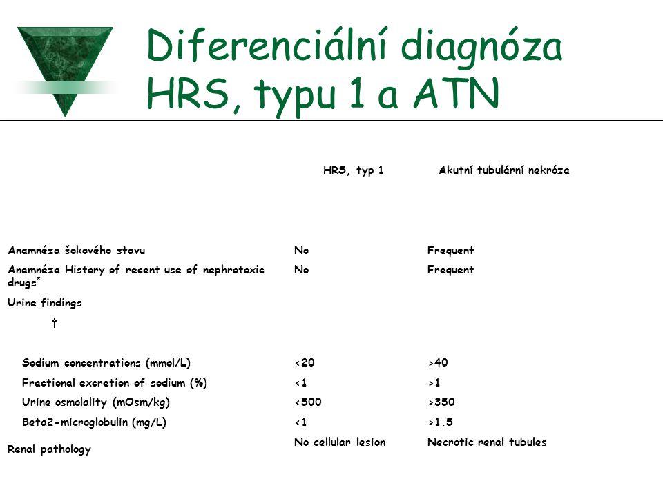 Diferenciální diagnóza HRS, typu 1 a ATN