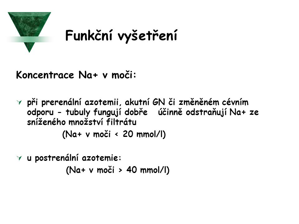 Funkční vyšetření Koncentrace Na+ v moči: