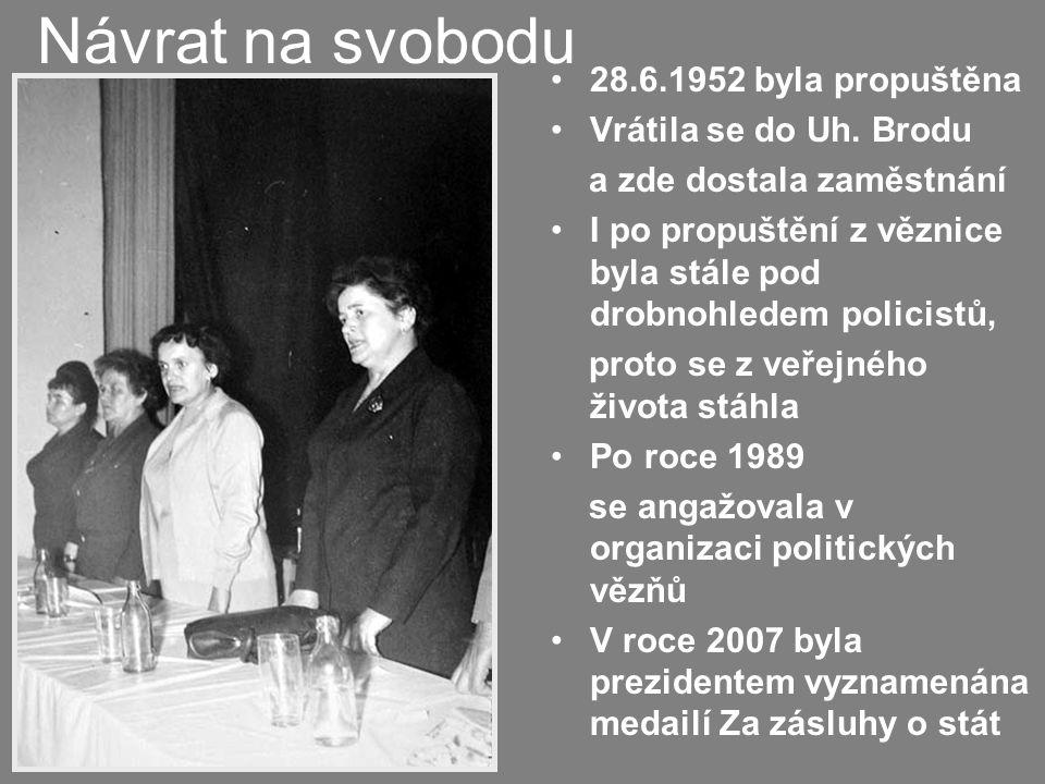 Návrat na svobodu 28.6.1952 byla propuštěna Vrátila se do Uh. Brodu
