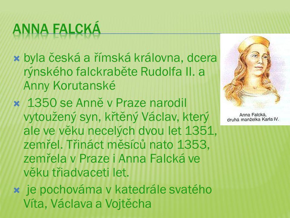 ANNA FALCKá byla česká a římská královna, dcera rýnského falckraběte Rudolfa II. a Anny Korutanské