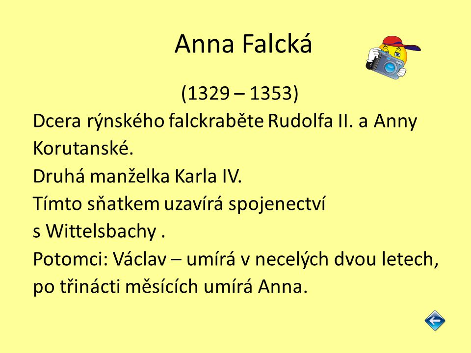 Anna Falcká (1329 – 1353) Dcera rýnského falckraběte Rudolfa II. a Anny. Korutanské. Druhá manželka Karla IV.
