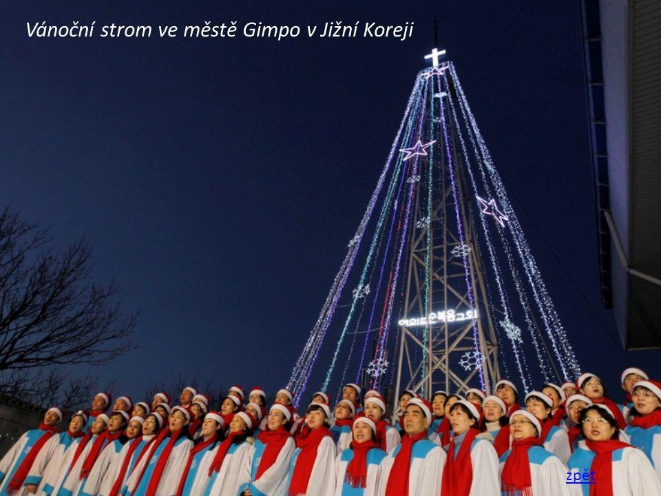 Vánoční strom ve městě Gimpo v Jižní Koreji