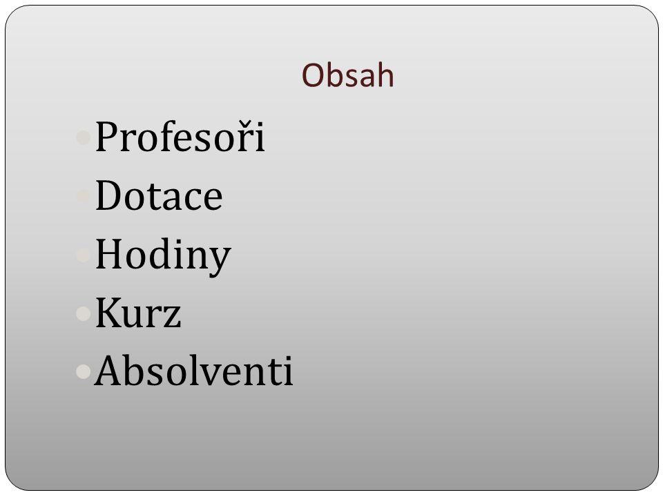 Obsah Profesoři Dotace Hodiny Kurz Absolventi