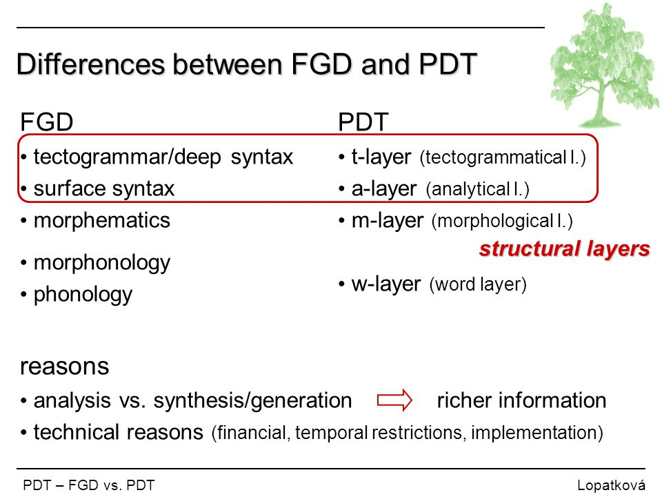 Differences between FGD and PDT