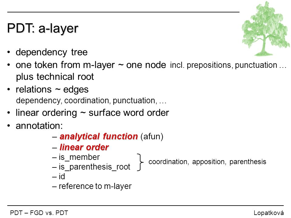 PDT: a-layer dependency tree