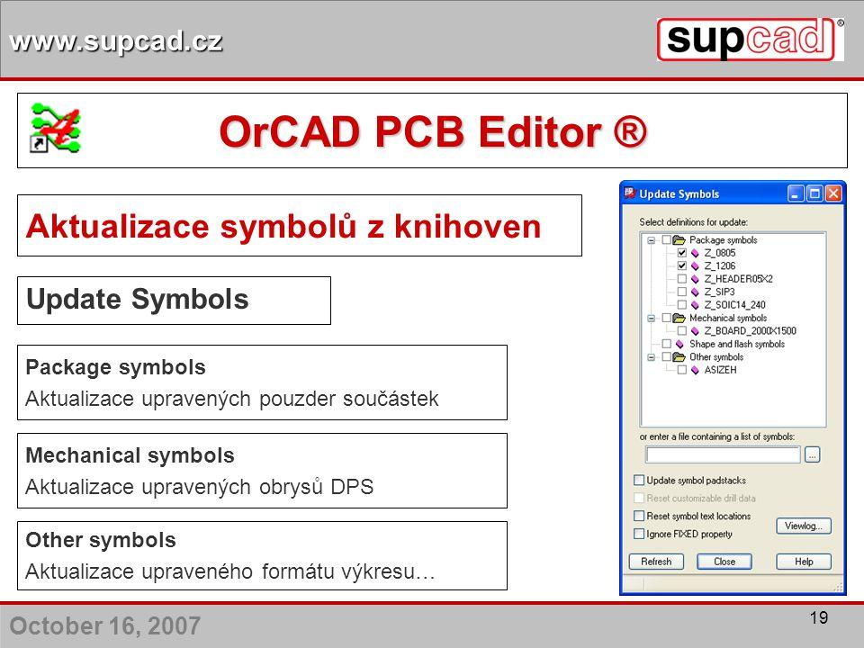 OrCAD PCB Editor ® Aktualizace symbolů z knihoven Update Symbols