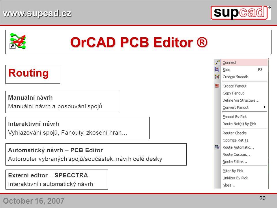 OrCAD PCB Editor ® Routing Manuální návrh