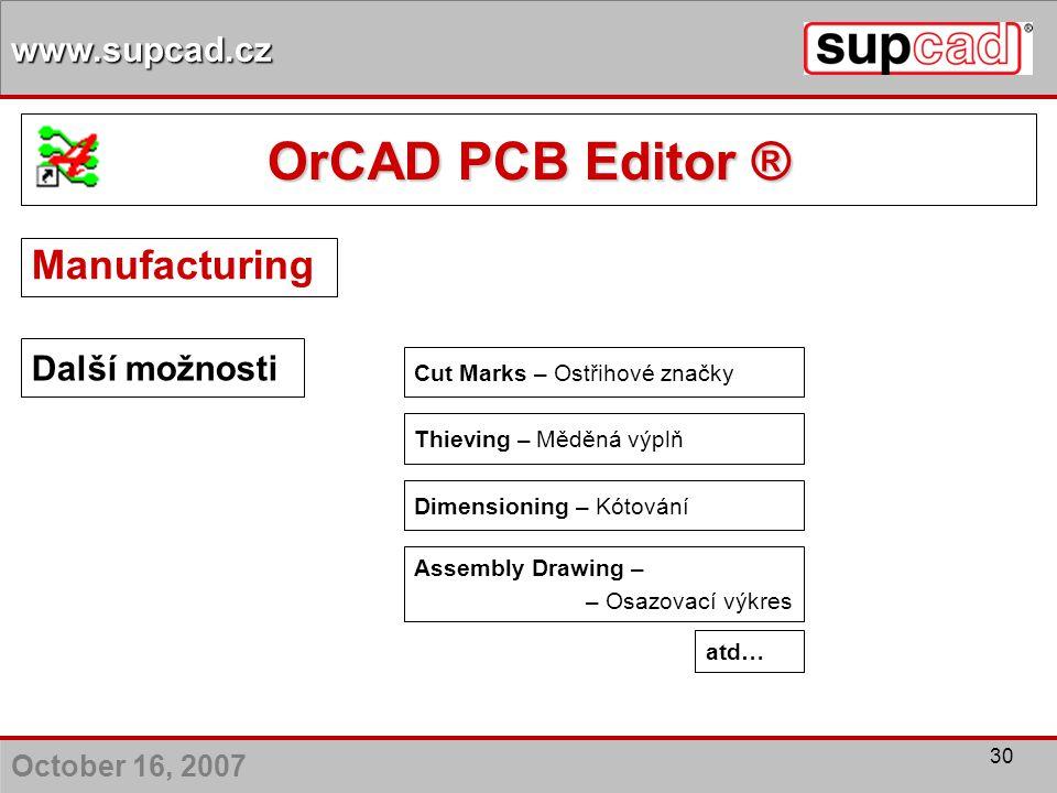 OrCAD PCB Editor ® Manufacturing Další možnosti