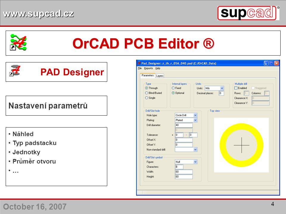 OrCAD PCB Editor ® PAD Designer Nastavení parametrů Náhled
