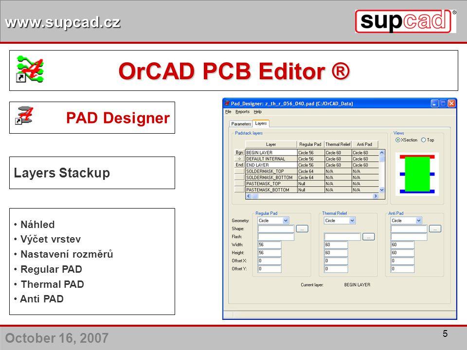 OrCAD PCB Editor ® PAD Designer Layers Stackup Náhled Výčet vrstev
