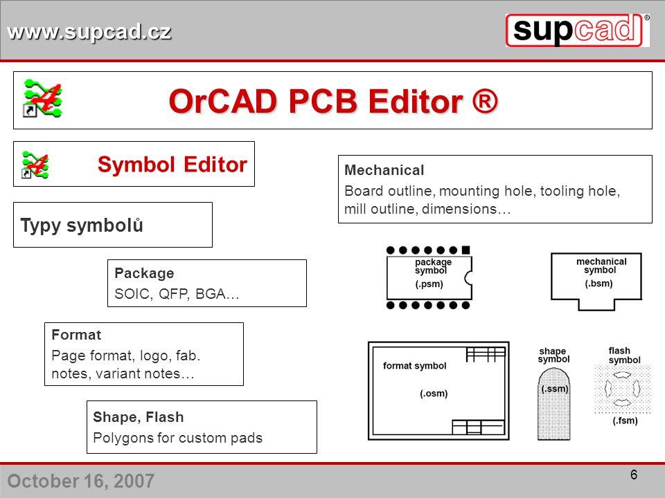 OrCAD PCB Editor ® Symbol Editor Typy symbolů Mechanical