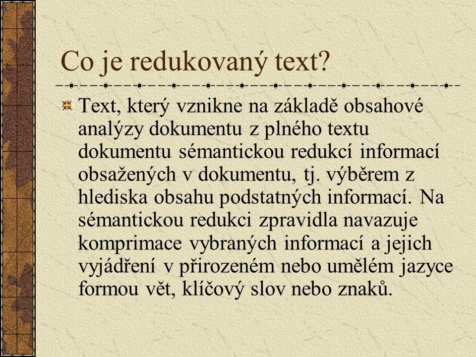 Co je redukovaný text