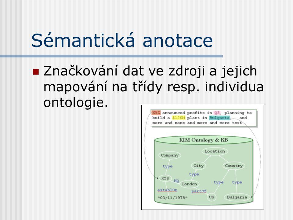 Sémantická anotace Značkování dat ve zdroji a jejich mapování na třídy resp. individua ontologie.