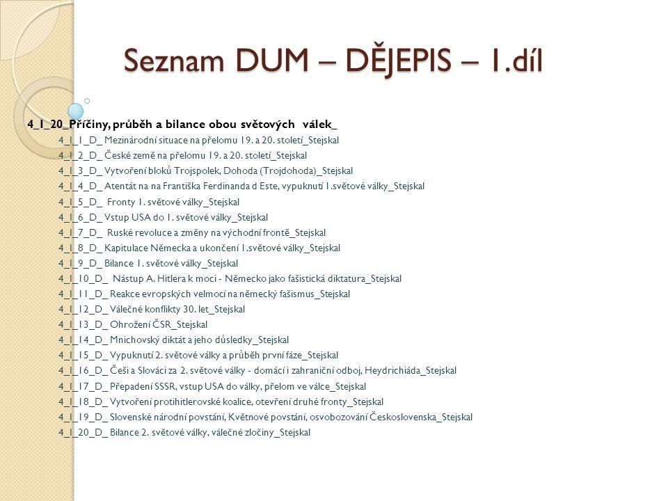 Seznam DUM – DĚJEPIS – 1.díl