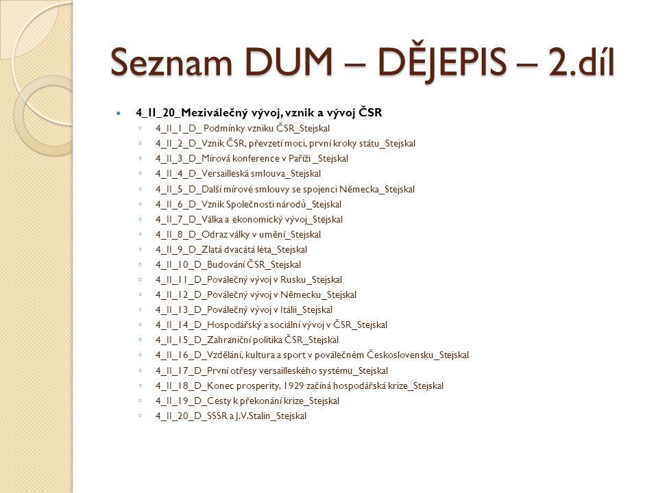Seznam DUM – DĚJEPIS – 2.díl