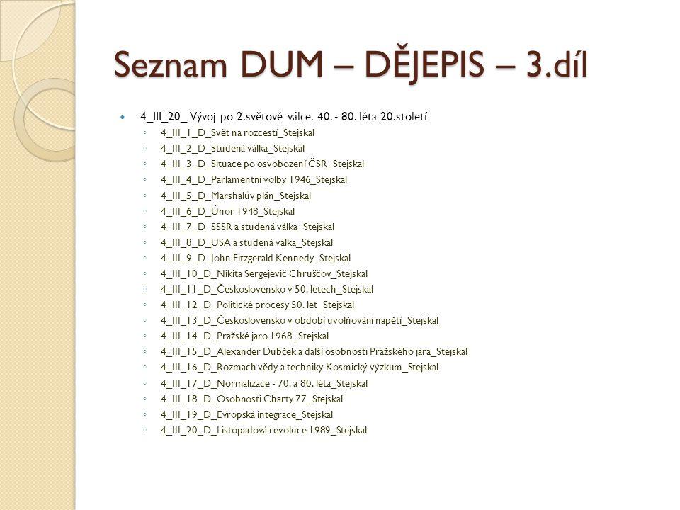 Seznam DUM – DĚJEPIS – 3.díl