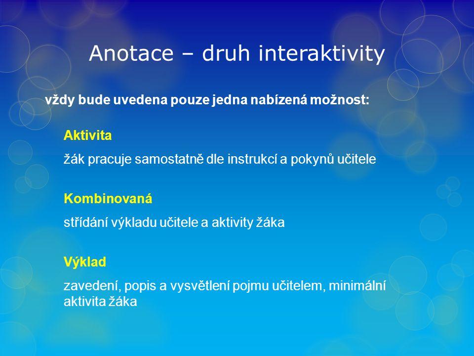 Anotace – druh interaktivity