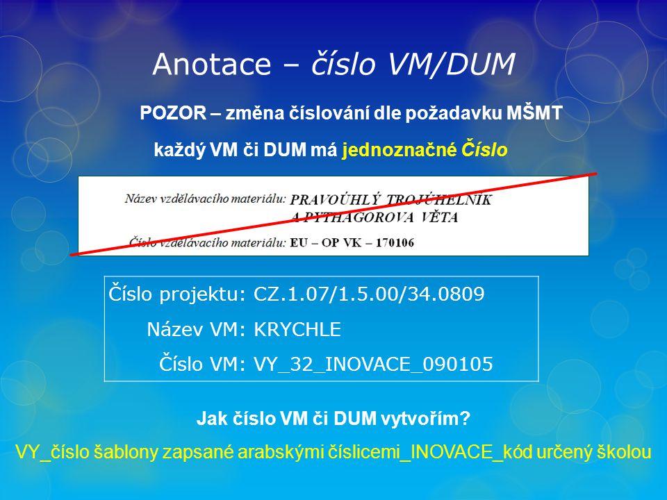 Anotace – číslo VM/DUM POZOR – změna číslování dle požadavku MŠMT