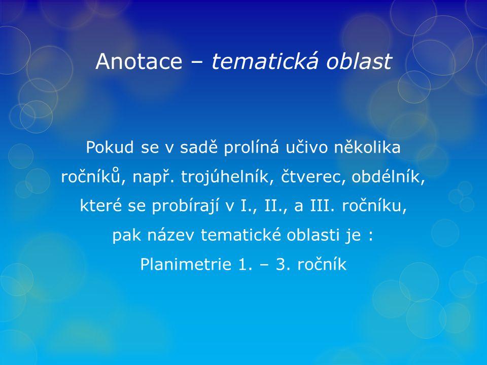 Anotace – tematická oblast