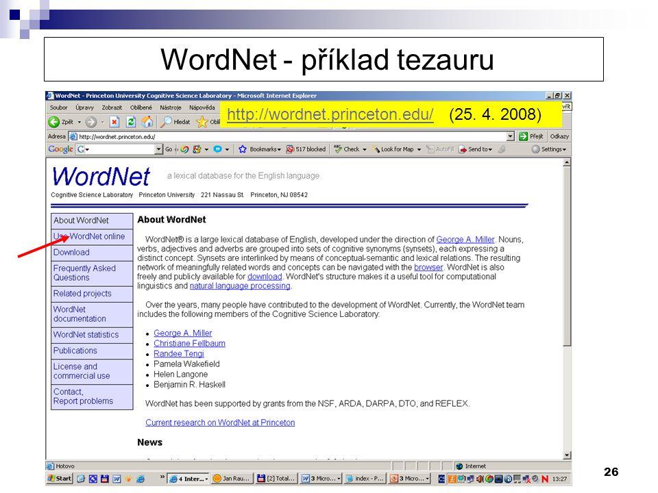 WordNet - příklad tezauru