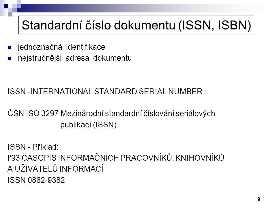 Standardní číslo dokumentu (ISSN, ISBN)