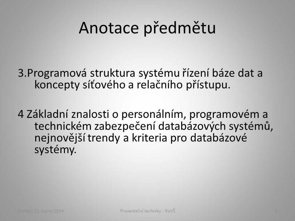 Prezentační techniky - RaVŠ