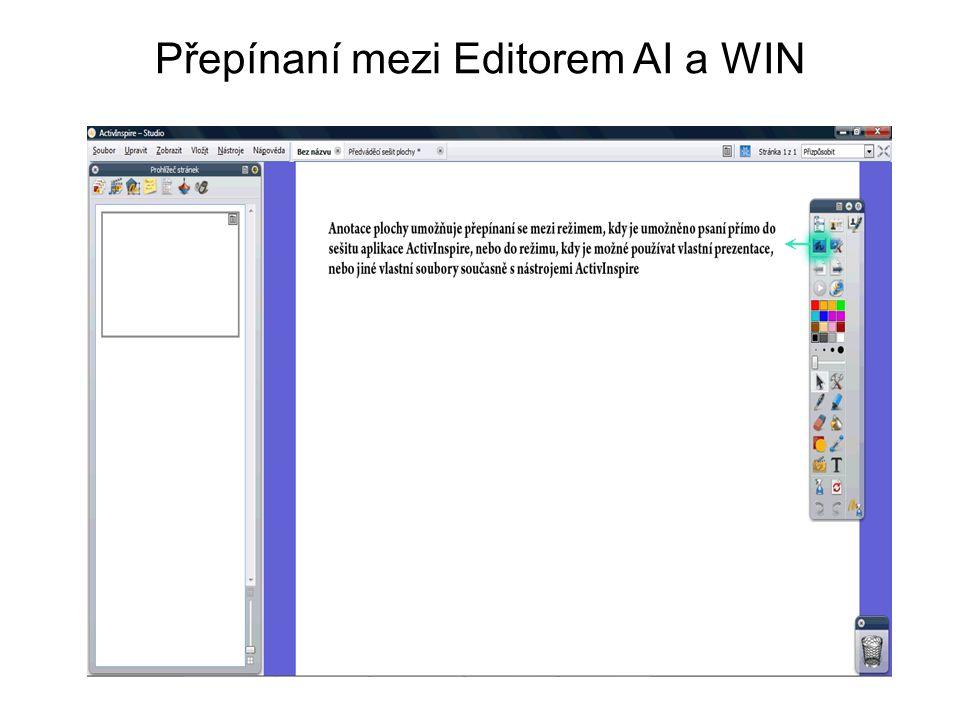 Přepínaní mezi Editorem AI a WIN