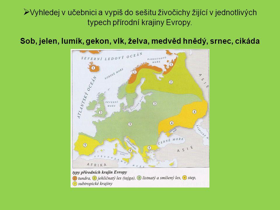 Vyhledej v učebnici a vypiš do sešitu živočichy žijící v jednotlivých typech přírodní krajiny Evropy.
