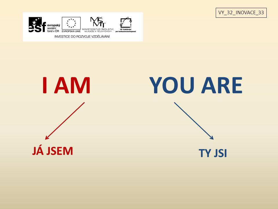 VY_32_INOVACE_33 I AM YOU ARE JÁ JSEM TY JSI