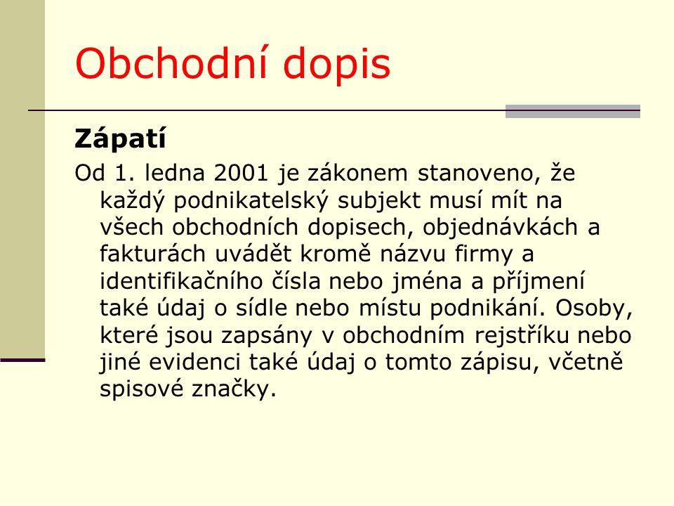 Obchodní dopis Zápatí.