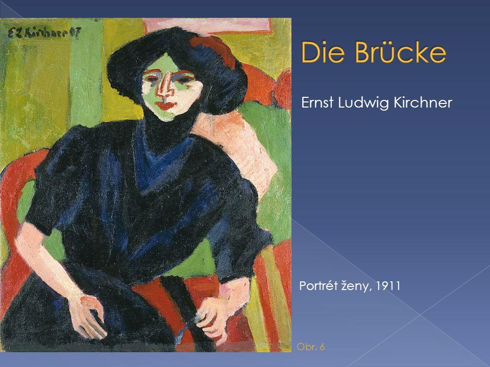 Die Brücke Ernst Ludwig Kirchner Portrét ženy, 1911 Obr. 6