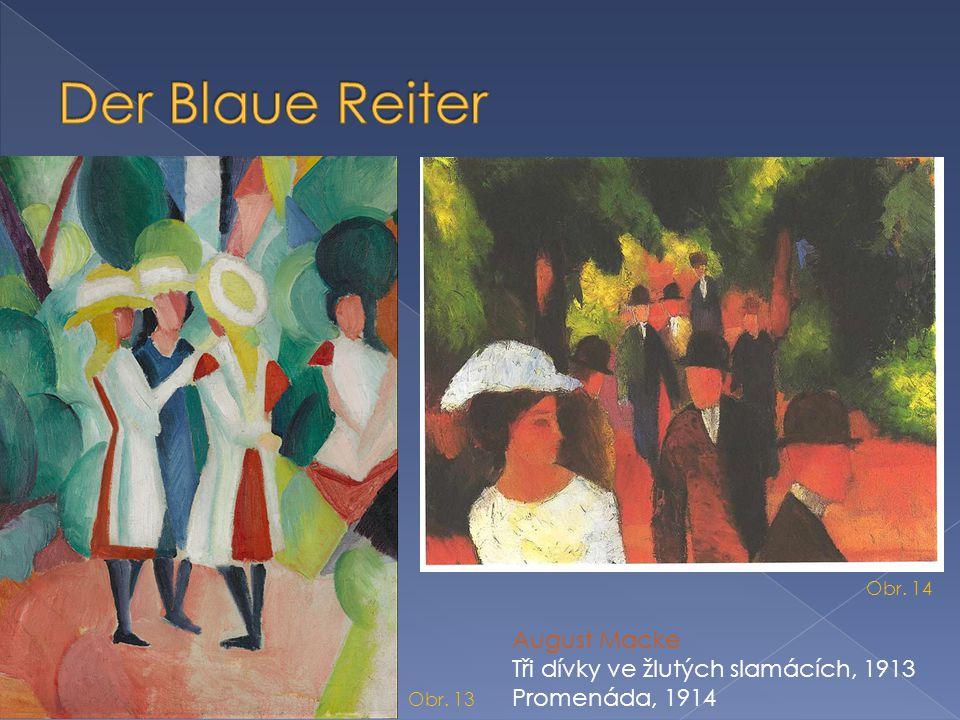 Der Blaue Reiter August Macke Tři dívky ve žlutých slamácích, 1913