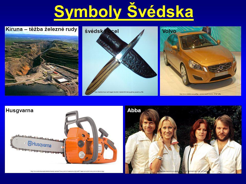 Symboly Švédska Kiruna – těžba železné rudy švédská ocel Volvo
