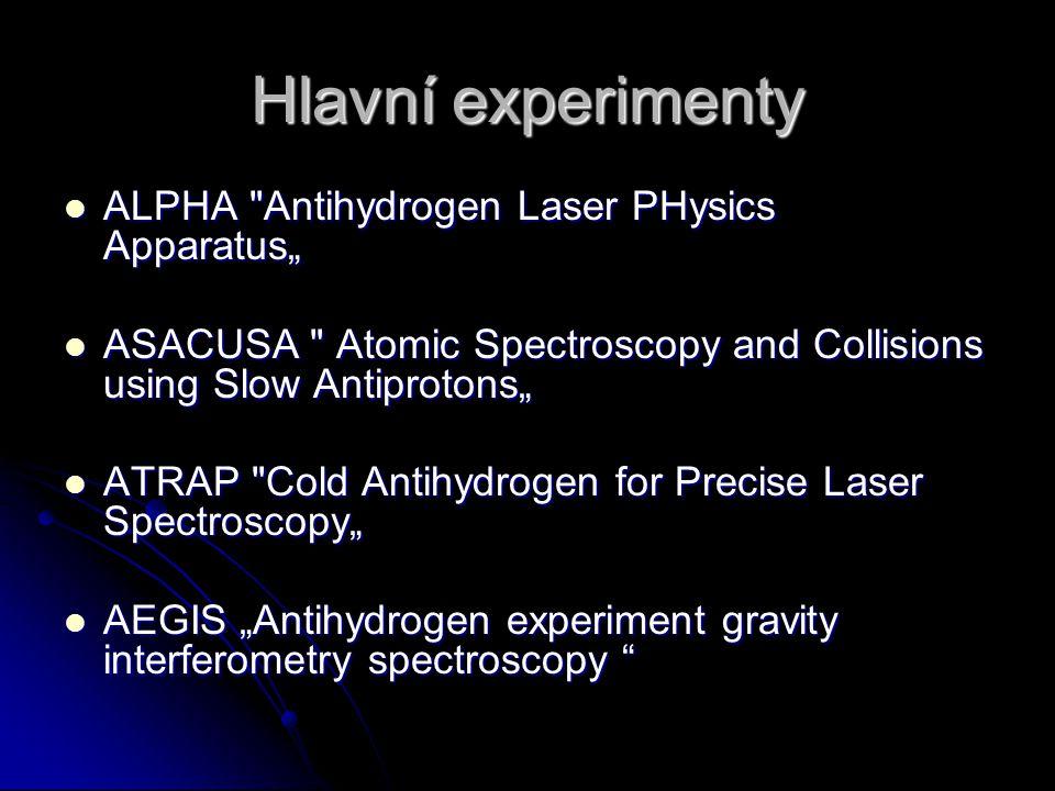 """Hlavní experimenty ALPHA Antihydrogen Laser PHysics Apparatus"""""""