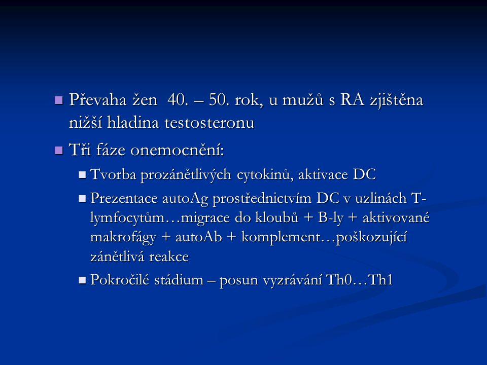 Převaha žen 40. – 50. rok, u mužů s RA zjištěna nižší hladina testosteronu