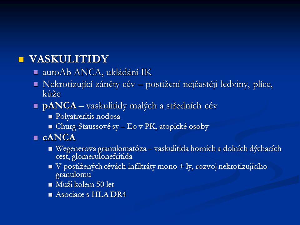 VASKULITIDY autoAb ANCA, ukládání IK