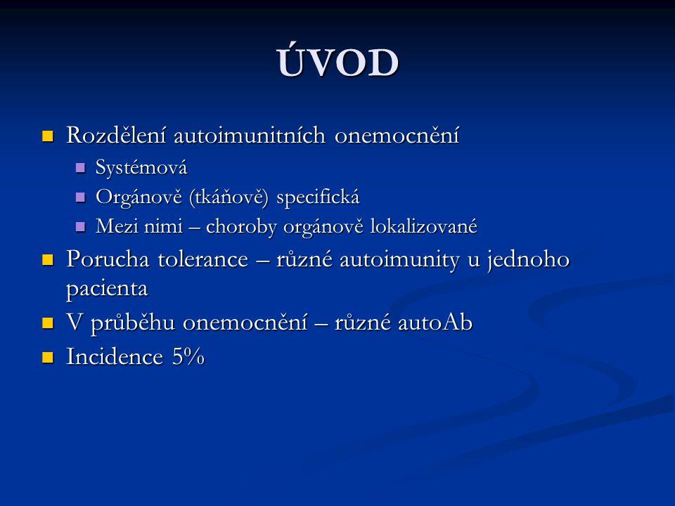 ÚVOD Rozdělení autoimunitních onemocnění