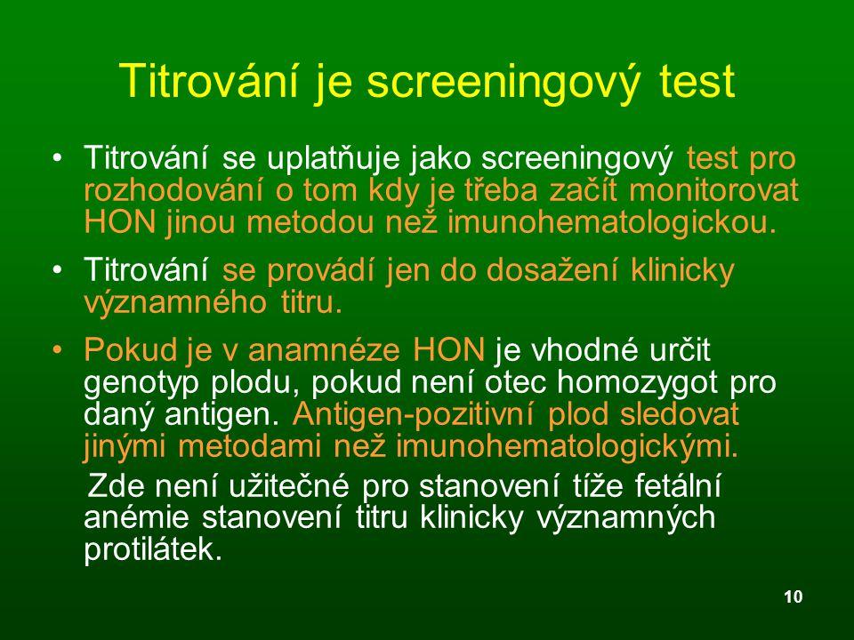 Titrování je screeningový test